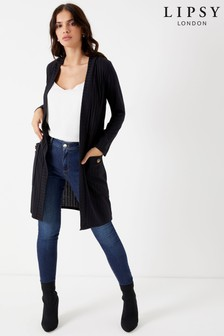 Lipsy Rib Horn Button Pocket Cardigan