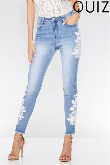 Quiz Denim Crochet Trim Skinny Jeans