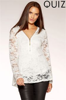 Quiz Lace Peplum Zip Detail Top