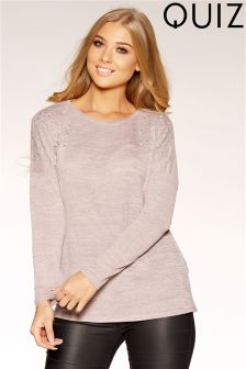 Quiz Light Knit Pearl Diamante Long Sleeve Top