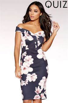 Quiz Floral Bardot Cross Over Front Midi Dress