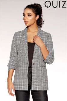 Quiz Check Ruched Sleeve Blazer
