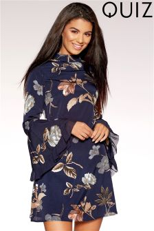 Quiz High Neck Flute Sleeve Floral Print Dress