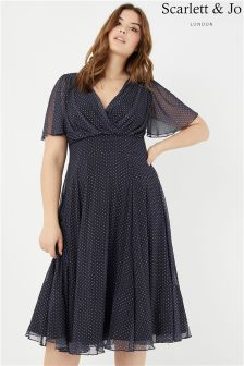 Scarlett & Jo Spot Sleeve Midi Dress