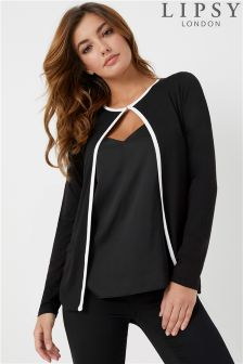 Lipsy Long Sleeves Contrast Cardigan