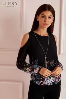 Lipsy Necklace Printed Coldshoulder Blouse
