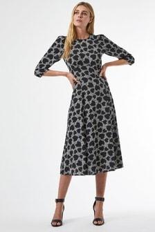 Dorothy Perkins Empire Line Woven Midi Heart Print Dress