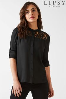 Lipsy Lace Grandad Collar Shirt