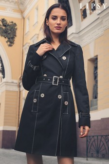 Lipsy Contrast Stitch Mac Coat