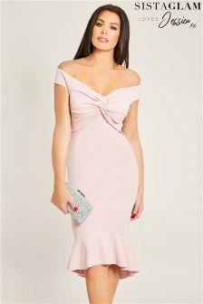 Sistaglam Loves Jessica Frill Hem Bodycon Dress