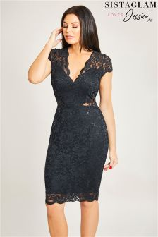 Sistaglam Loves Jessica Lace Sequin Bodycon Dress