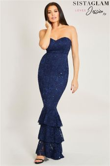 Sistaglam Loves Jessica Sequin Frill Hem Maxi Dress