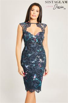 Sistaglam Loves Jessica Floral Print Midi Bodycon Dress