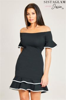Jessica Wright Two Layer Frill Hem Bodycon Short Dress