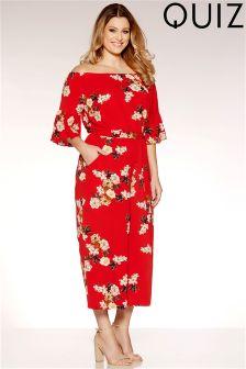 Quiz Curve Floral Print Frill Sleeve Culotte Jumpsuit