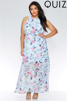 Quiz Curve Floral Print High Neck Split Maxi Dress