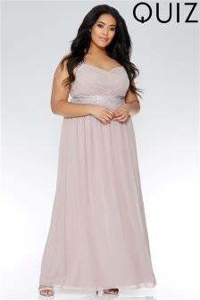 Quiz Curve Chiffon V neck Embellished Maxi Dress