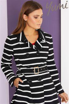 Yumi Stripe Trench Coat