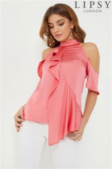 Lipsy High Neck Satin Asymmetric Frill Top
