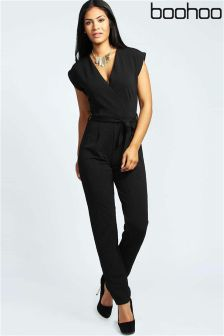 Boohoo Petite Millie Wrap Over Jumpsuit