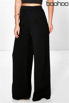 Boohoo Petite Millie Wide Leg Pleat Trouser