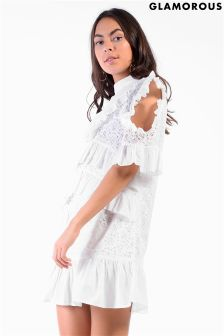 Glamorous Lace And Frill Shift Dress