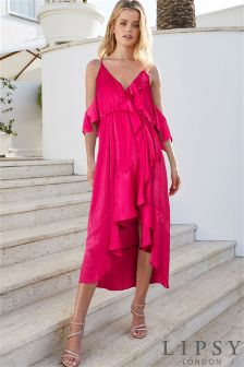 Lipsy Cold Shoulder Ruffle Midi Dress