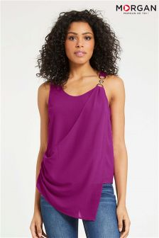 Morgan Asymmetric Sleeveless Top With Metal Detail