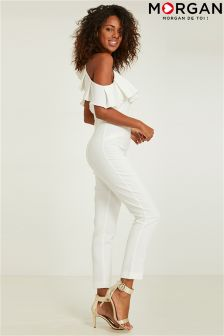 Morgan Open Shoulder Ruffle Detailed Jumpsuit