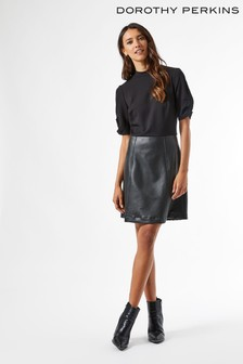 Dorothy Perkins Faux Leather 2 In 1 Mini Dress