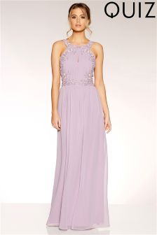 Quiz Pearl Embellished Keyhole Chiffon Maxi Dress