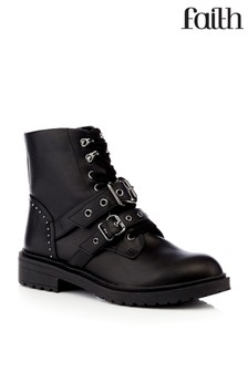 Faith Buckle Ankle Flat Boot