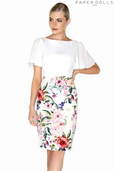 Paper Dolls Rose Printed 2 in 1 Dress With Flute Detail