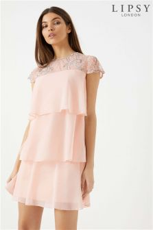 Lipsy Embellished Yoke Tiered Dress