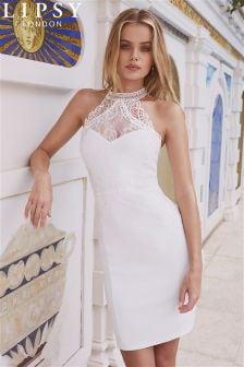 Lipsy Figurbetontes Neckholder-Kleid mit Spitzenbesatz