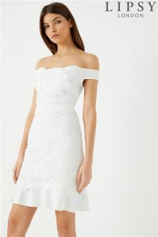 Lipsy Lace Flower Trim Bardot Dress