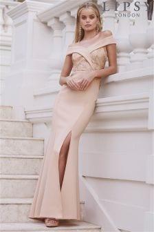 Lipsy Petite Sequin Top Bardot Maxi Dress