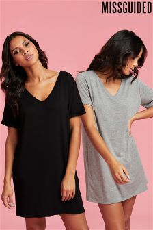 Missguided 2 Pack V neck T-Shirt Dress