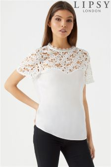 Lipsy Lace Frill Sleeve Top