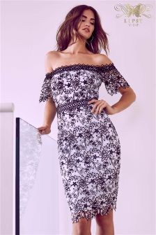 Lipsy VIP Floral Lace Bardot Bodycon Dress