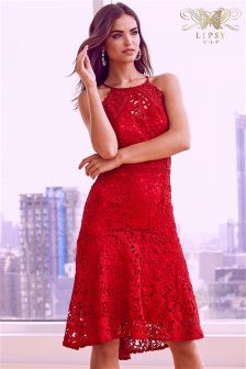 Lipsy VIP High Neck Lace Prom Dress