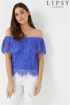 Lipsy All Over Lace Bardot Top