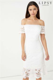Lipsy Bardot Lace Flute Hem Dress