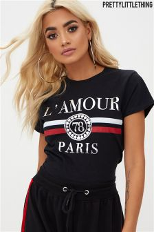 PrettyLittleThing L'amour Slogan Foil Print Fitted T-Shirt