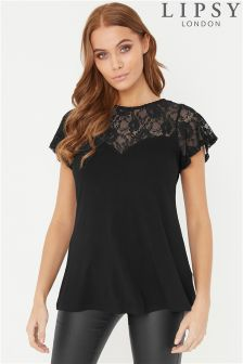Lipsy Lace Yoke Sweetheart Top