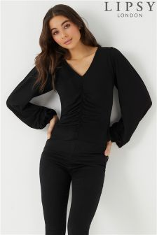 Lipsy Ruched Front Long Sleeve Top
