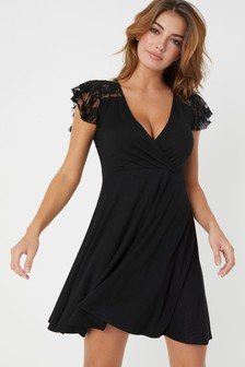 ed6de6b65a6 Lipsy Lace Insert Wrap Dress