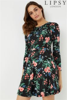 Lipsy Floral Long Sleeves Skater Dress