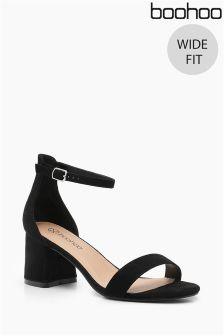 Boohoo Wide Fit Suedette Block Heels