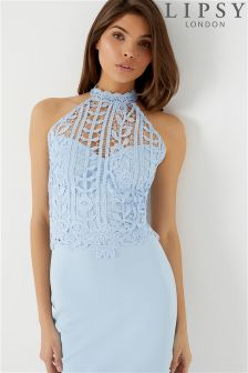 Lipsy Lace Halter Co-ord Top